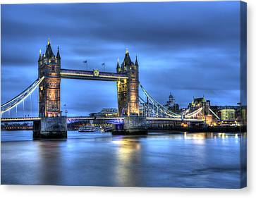 Canvas Print featuring the photograph Tower Bridge London Blue Hour by Shawn Everhart