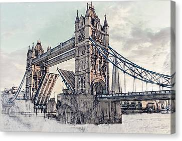 Canvas Print featuring the digital art Tower Bridge by Pennie  McCracken