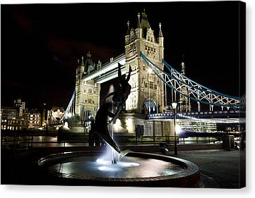 Tower Bridge With Girl And Dolphin Statue Canvas Print by David Pyatt