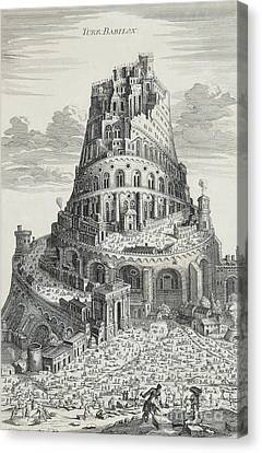 Tower Of Babylon Canvas Print by Pierre Fourdrinier
