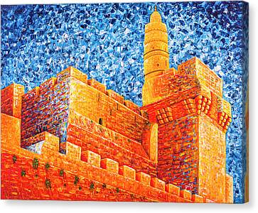 Canvas Print featuring the painting Tower Of David At Night Jerusalem Original Palette Knife Painting by Georgeta Blanaru