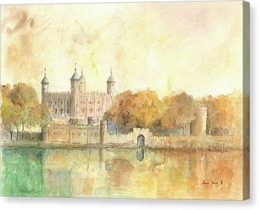 Tower Of London Canvas Print - Tower Of London Watercolor by Juan Bosco