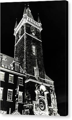 Canvas Print featuring the photograph Tower Of Old Town Hall In Prague. Black by Jenny Rainbow