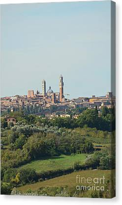 Towers Of Siena In Italy In The Distance Canvas Print