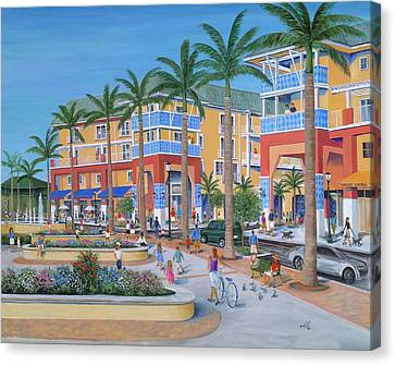Awning Canvas Print - Town Center Abacoa Jupiter by Marilyn Dunlap