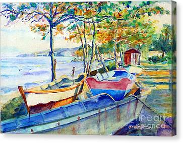 Town Fishery Canvas Print by Estela Robles