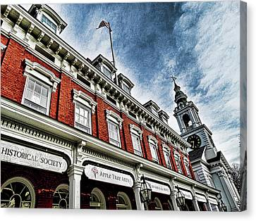 Town House And Church Canvas Print by Bill Dussault