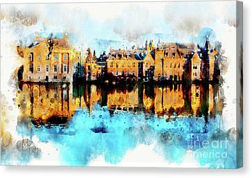 Canvas Print featuring the digital art Town Life In Watercolor Style by Ariadna De Raadt