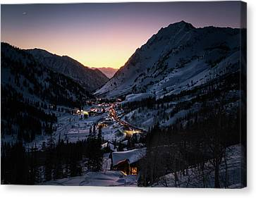 Town Of Alta At Dusk Canvas Print by James Udall