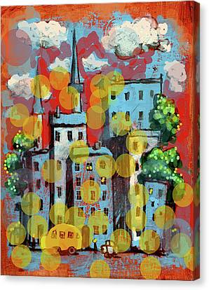 Town With A School Bus Canvas Print