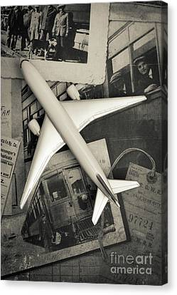 Toy Airplane Vintage Travel Canvas Print by Edward Fielding