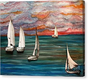 Toy Boats X's 5 Canvas Print by Barbara Donovan