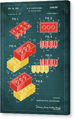 Toy Building Brick Patent Year 1958 Blueprint Canvas Print by Pablo Franchi