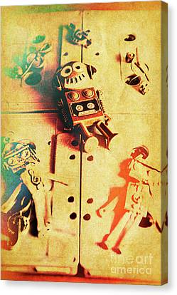 Cassettes Canvas Print - Toy Robots On Vintage Cassettes by Jorgo Photography - Wall Art Gallery