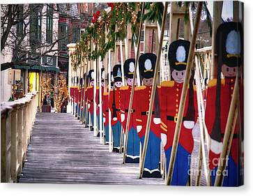 Toy Soldiers On A Bridge Canvas Print