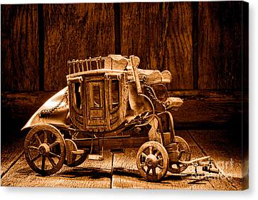 Artisan Canvas Print - Toy Stagecoach - Sepia by Olivier Le Queinec