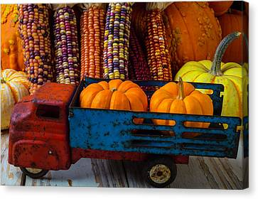 Toy Truck And Pumpkins Canvas Print