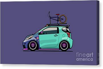 Toyota Scion Iq Slammed With Bmx Bike Canvas Print by Monkey Crisis On Mars