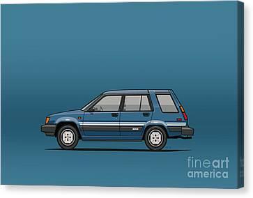 Toyota Tercel Sr5 4wd Wagon Al25 Blue Canvas Print by Monkey Crisis On Mars