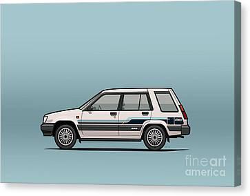 Toyota Tercel Sr5 4wd Wagon Al25 White Canvas Print by Monkey Crisis On Mars