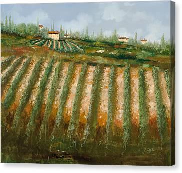Fall Grass Canvas Print - Tra I Filari Nella Vigna by Guido Borelli