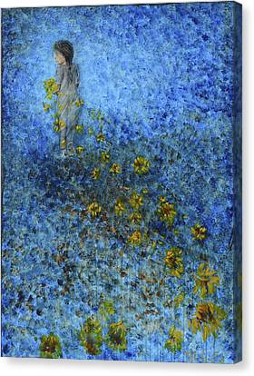 Canvas Print featuring the painting Traces Sunflowers Lost by Nik Helbig