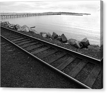 Tracks And Pier Canvas Print by Mark Alan Perry
