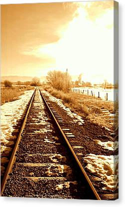 Train Tracks Canvas Print - Tracks by Caroline Clark