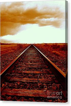 Marfa Texas America Southwest Tracks To California Canvas Print by Michael Hoard