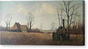 Canvas Print featuring the painting Traction Engine. by Mike Jeffries