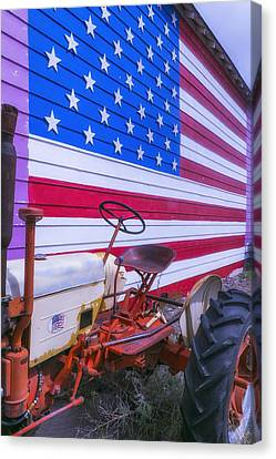 Fourth Canvas Print - Tractor And Large Flag by Garry Gay