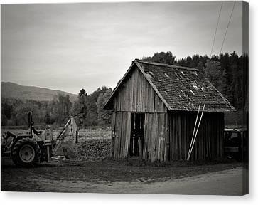 Tractor And Shed Canvas Print by Mandy Wiltse