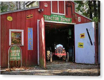 Tractor Repair Shop Canvas Print by Lori Deiter