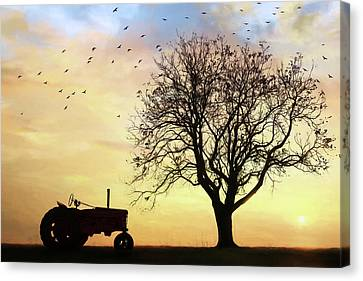 Tractor Silhouette Canvas Print