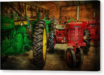 Tractors At Rest - John Deere - Mccormick - Farmall - Farm Equipment - Nostalgia - Vintage Canvas Print by Lee Dos Santos
