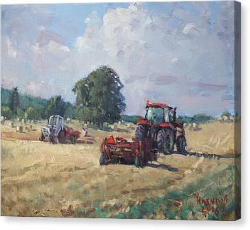 Tractors In The Farm Georgetown Canvas Print by Ylli Haruni