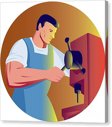 Trade Factory Worker Working With Drill Press Canvas Print by Aloysius Patrimonio