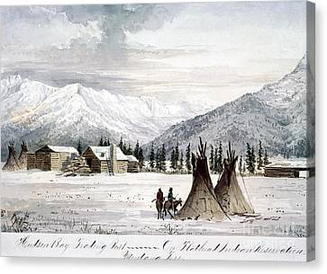 Log Cabins Canvas Print - Trading Outpost, C1860 by Granger