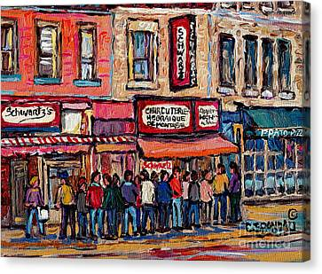Tradition Schwartz's Line-up Montreal Smoked Meat Deli Painting Canadian  City Scene Carole Spandau Canvas Print
