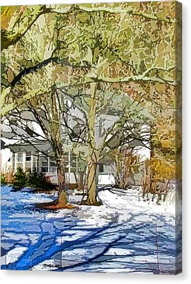 Traditional American Home In Winter Canvas Print by Lanjee Chee