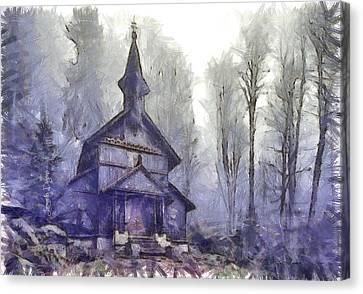 Worship Canvas Print - Traditional Church by Leonardo Digenio