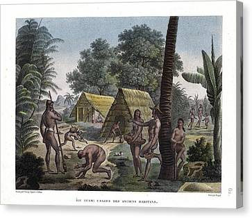 Traditional Customs Of The Chamorro Classes Canvas Print by d Apres A Pellion
