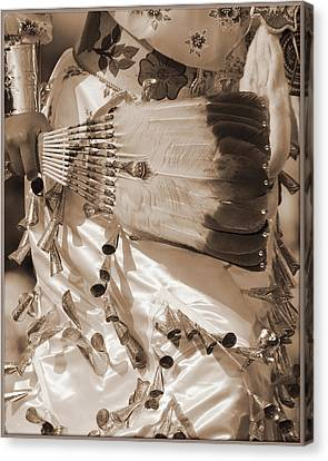 Canvas Print featuring the photograph Traditional Dancer In Sepia by Heidi Hermes