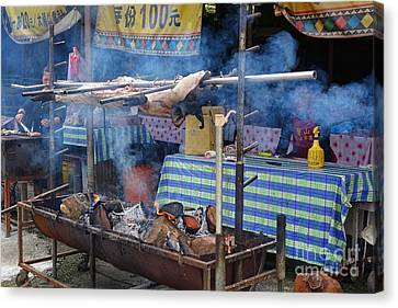 Canvas Print featuring the photograph Traditional Market In Taiwan Native Village by Yali Shi