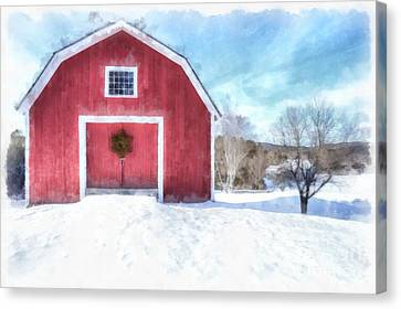 Traditional New England Red Barn In Winter Watercolor Canvas Print by Edward Fielding