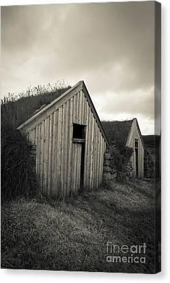 Sod Canvas Print - Traditional Turf Or Sod Barns Iceland by Edward Fielding