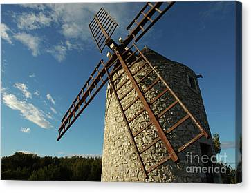 Traditional Stone Windmill In Les Pennes-mirabeau Canvas Print by Sami Sarkis
