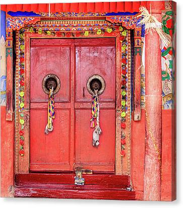 Tibetan Buddhism Canvas Print - Traditional Tibetan Doors by Alexey Stiop