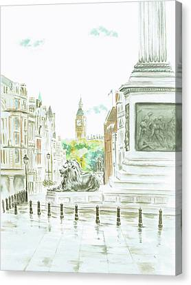 Canvas Print featuring the painting Trafalgar Square by Elizabeth Lock