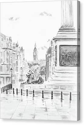 Canvas Print featuring the digital art Trafalgar Square II by Elizabeth Lock